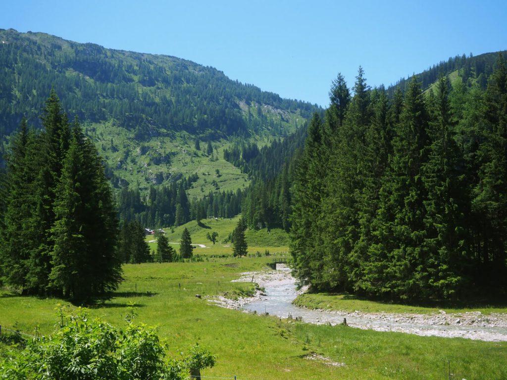 Wandelen langs de rivier de Taurach in een dal tussen bergen